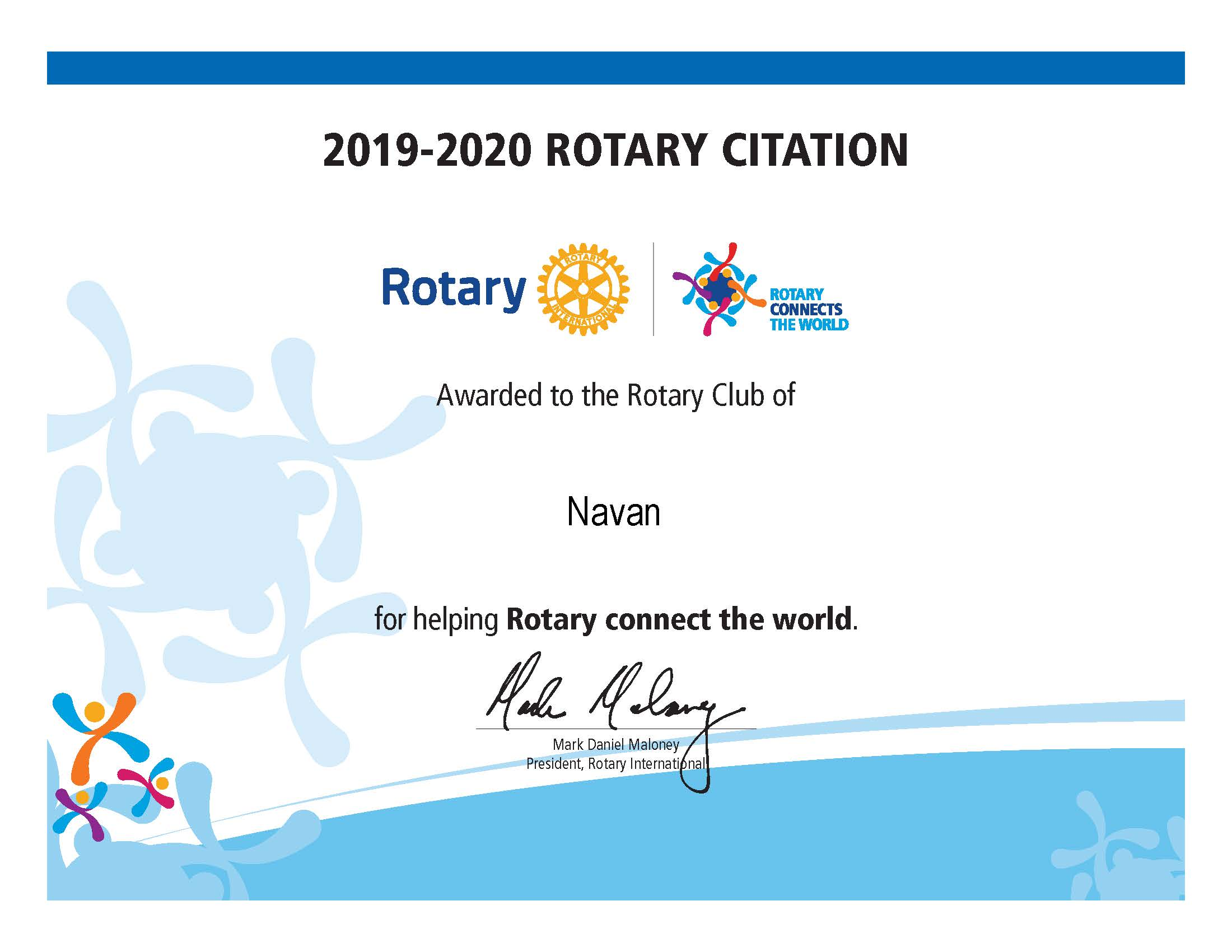 Rotary Club of Navan - Citation 2019-2020
